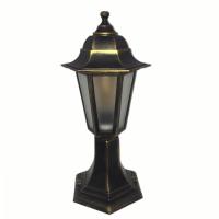 Садово-парковий світильник Барі Класик 40 см мідного кольору з матовим склом