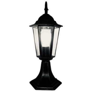 Садово-парковий світильник Брі Класик Металік на ніжці 45 см чорний з прозорим склом