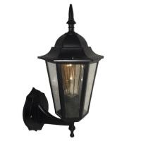 Садовий світильник настінний Брі Класик Металік чорного кольору з прозорим склом