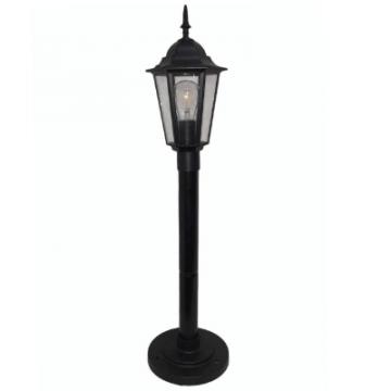 Садово-парковий світильник Брі Класик Металік стовп 0.8 м чорного кольору з прозорим склом