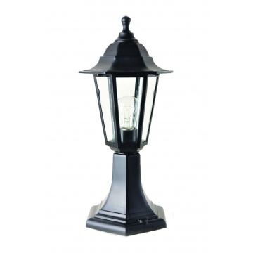 Садово-парковий світильник Брі Класик 40 см чорного кольору з прозорим склом