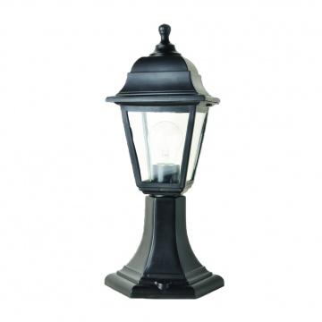Садово-парковий світильник Брі Ретро 40 см чорного кольору з прозорим склом