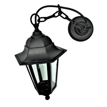 Садовий світильник підвісний садовий Брі Класик чорного кольору з прозорим склом
