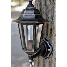 Садовий світильник настінний Silver Classic сріблястого кольору c прозорим склом