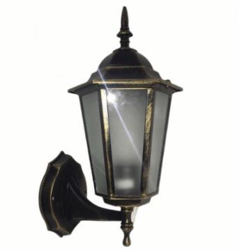 Садовий світильник бра Барі Класик Металік мідного кольору з прозорим склом