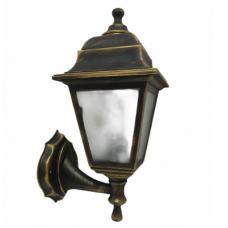 Світильник настінний вуличний Барі Ретро мідного кольору c матовим склом