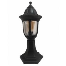 Садово-парковий антивандальний світильник Фараон стовпчик 40 см чорного кольору з прозорим плафоном