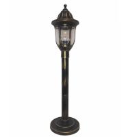 Садовий світильник антивандальний Фараон стовп 0.8 м мідного кольору з прозорим плафоном
