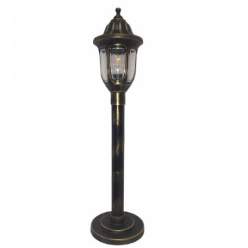 Садовий світильник антивандальний Фараон стовп 1 м мідного кольору з прозорим плафоном