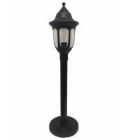 Садовий світильник антивандальний Фараон стовп 1 м чорного кольору з прозорим плафоном