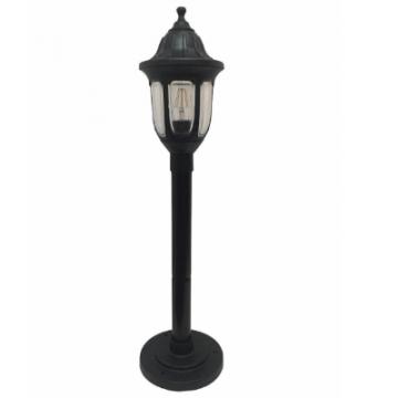 Садовий світильник антивандальний Фараон стовп 0.8 м чорного кольору з прозорим плафоном