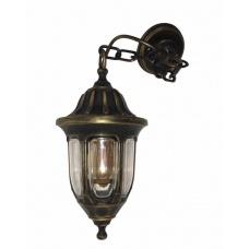Вуличний підвісний антивандальний садовий світильник Фараон мідного кольору з прозорим плафоном