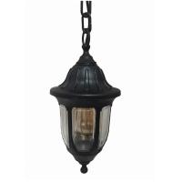 Вуличний підвісний антивандальний садовий світильник Фараон чорного кольору з прозорим плафоном
