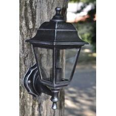 Садовий світильник настінний Silver Retro сріблястого кольору c прозорим склом