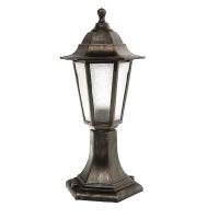 Садово-парковий світильник Барі Класик стовп 40 см мідного кольору з прозорим склом