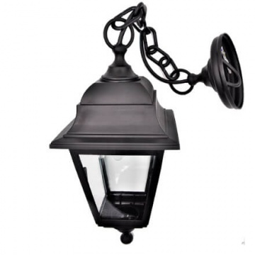Вуличний світильник підвісний Брі Ретро чорного кольору на ланцюжку з прозорим склом