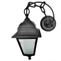 Вуличний світильник підвісний Брі Ретро чорного кольору з матовим склом