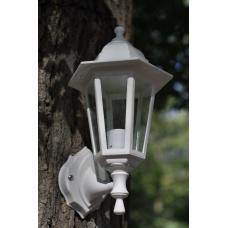 Садовий світильник настінний White Classic білого кольору з прозорим склом
