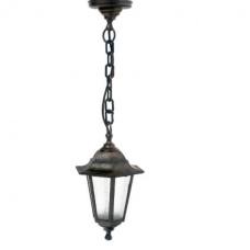 Світильник зовнішній підвісний Барі Класик мідного кольору з прозорим склом