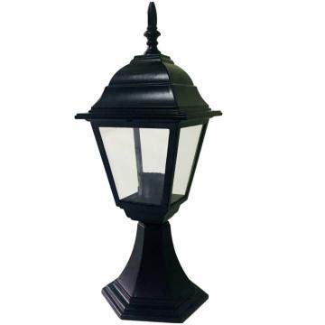 Садово-парковий світильник Брі Металік на ніжці 45 см чорний з прозорим склом