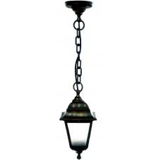 Світильник зовнішній підвісний Барі Ретро мідного кольору з прозорим склом