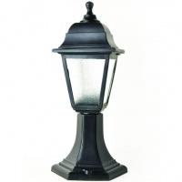 Садово-парковий світильник Брі Ретро 40 см чорного кольору з матовим склом