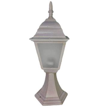 Садово-парковий світильник Барі Металік на ніжці 45 см біла мідь з матовим склом