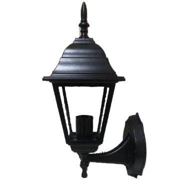 Садовий світильник настінний Брі Ретро Металік чорного кольору з прозорим склом