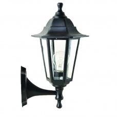 Садовий світильник настінний Брі Класик чорного кольору з прозорим склом