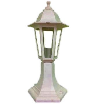 Садово-парковий світильник White Classic стовпчик 40 см білого кольору з прозорим склом