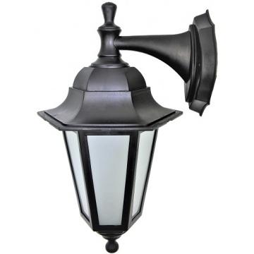 Садовий світильник настінний Брі Класик чорного кольору з матовим склом