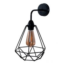 Настінний світильник металевий Бра Рубін чорного кольору в стилі Лофт